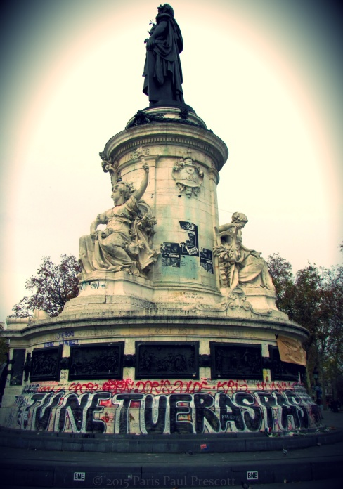 """Thou shall not kill"" - Place de la Republique"