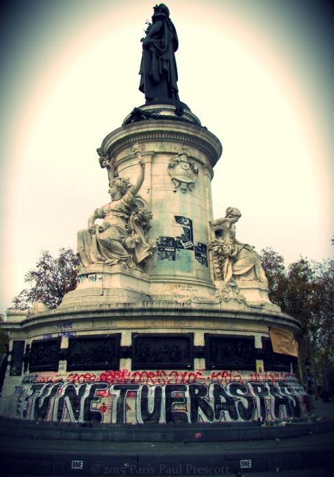 """""""Thou shall not kill"""" - Place de la Republique"""